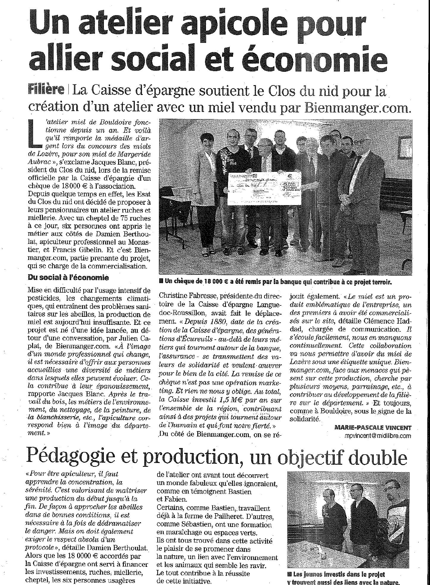 Article paru dans Midi Libre le 19 octobre 2016
